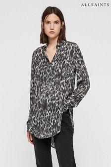All Saints Grey Leopard Keri Tunic Blouse