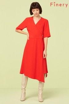 Finery London Red Hettie Asymmetric Wrap Dress