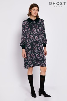 Ghost London Black Adeline Printed Satin Dress