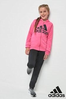 adidas Solar Pink/Black Poly Tracksuit