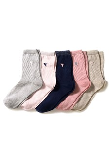Hummingbird Motif Textured Ankle Socks Five Pack