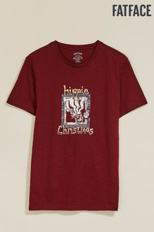 FatFace Red Hippie Xmas Graphic Tee