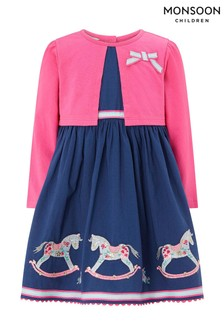 Monsoon Navy Baby Reese Rocking Horse Dress