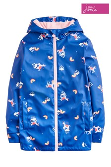 Joules Blue Raindance Rainbow Unicorn Girls Rubber Coat
