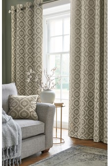 Ogee Embroidery Country Luxe Eyelet Curtains