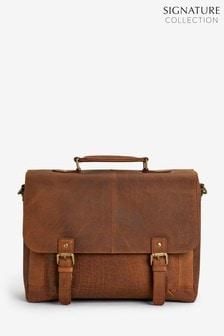 Signature Oily Leather Briefcase