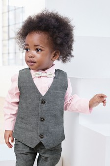 Waistcoat, Shirt And Bow Tie Three Piece Set (3mths-7yrs)