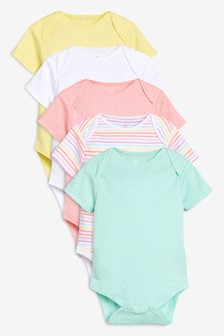 Spot And Stripe Short Sleeve Bodysuits Five Pack (0mths-2yrs)