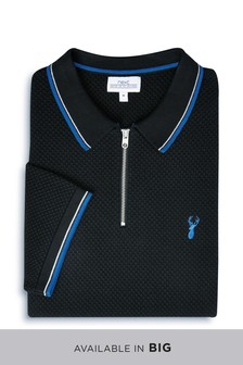 Tipped Zip Neck Knitted Polo