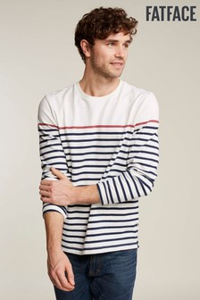 FatFace Natural Harlyn Pop Stripe Crew