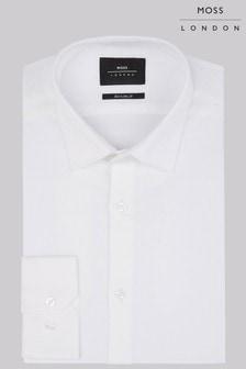 Moss London Extra Slim Fit White Single Cuff Textured Shirt