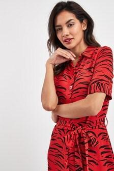 Print Short Sleeve Shirt Dress