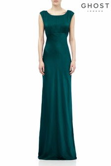 Ghost London Green Salma Emerald Satin Dress