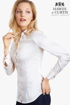Hawes & Curtis Cream Plain Double Cuff Shirt
