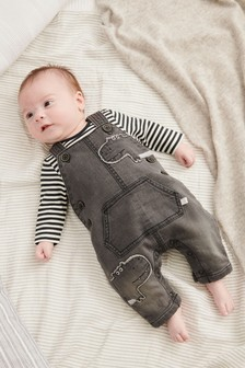 Hippo Dungarees And Stripe Bodysuit Set (0mths-2yrs)