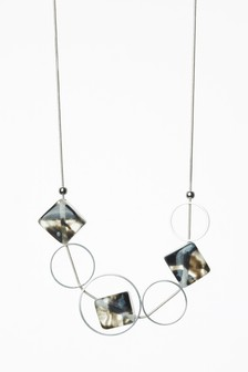 Metal And Bead Thread Through Necklace