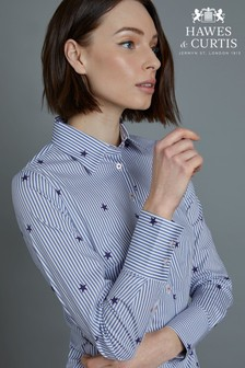 Hawes & Curtis Blue Stripes With Stars Print Fitted Shirt
