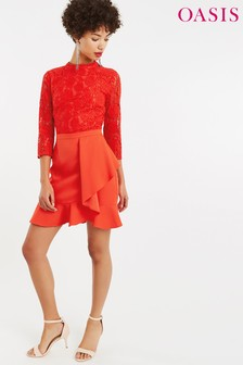 Oasis Red Lace Flounce Shift Dress