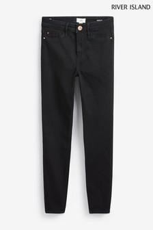 River Island Black Molly Mid Rise Jeans Short Leg