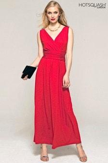 HotSquash Red V Cross Over Maxi Dress
