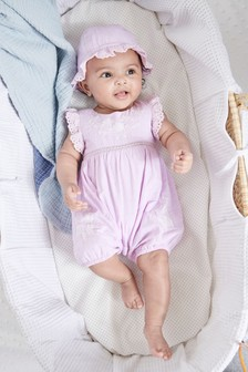 Embroidered Romper And Hat Set (0mths-2yrs)