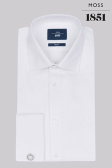 Moss 1851 Slim Fit White Double Cuff Twill Shirt