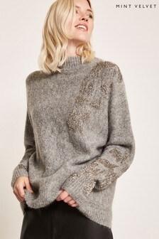 Mint Velvet Grey Embellished Knit