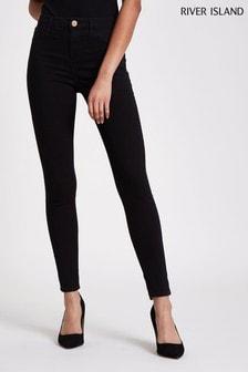 River Island Black Molly Mid Rise Jeans Regular Leg