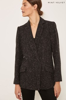 Mint Velvet Grey Charcoal Double Breast Blazer