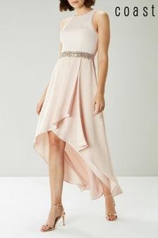 Coast Pink April Midi Embellished Belt Trim Dress