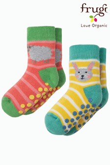 Frugi Organic Pink/Yellow Non Slip Grippy Sock Two Pack