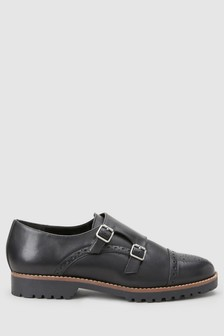 Leather Heavy Sole Monk Shoes