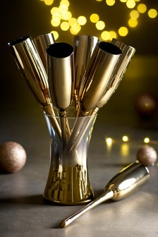 Gold Effect Champagne Flutes & Bucket