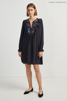 French Connection Blue Embroidered Dress