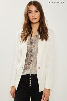 Mint Velvet White Ivory Tailored Blazer