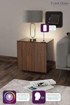 Frank Olsen Smart LED Black and Walnut Lamp Table