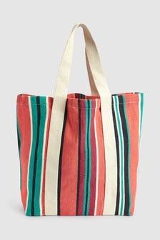 Canvas Stripe Shopper Bag