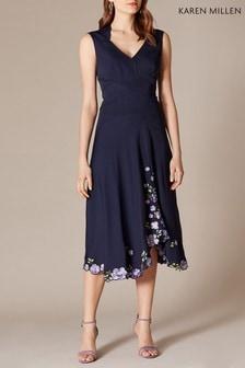 Karen Millen Blue Scattered Floral Embroidery Dress