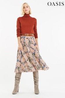 Oasis Natural Printed Pleated Skirt