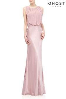 Ghost London Pink Claudia Boudoir Satin Dress