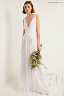 French Connection White Emelina Embellished V-Neck Dress