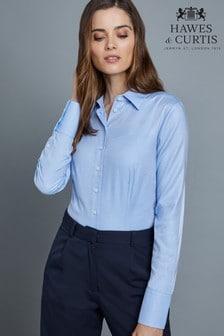 Hawes & Curtis Blue Plain Double Cuff Shirt