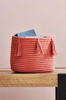 Terracotta Tassel Storage Basket
