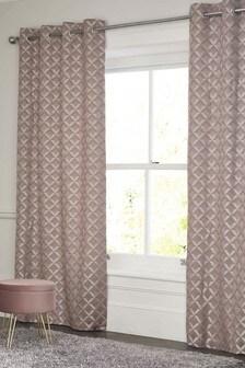 Shimmer Geo Jacquard Eyelet Curtains