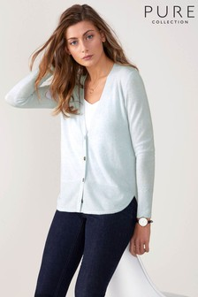 Pure Collection Blue Toccato Curved Hem Cardigan