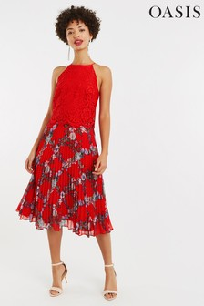Oasis Red Bloom Lace Pleat Midi Dress