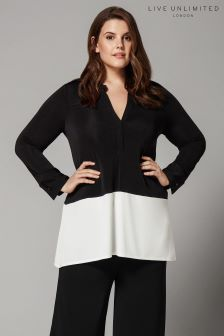 Live Unlimited Black  Ivory French Crepe Shirt