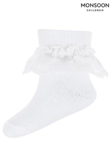 Monsoon White Baby Lacey Bow Socks