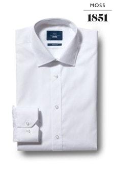 Moss 1851 Slim Fit White Single Cuff Shirt