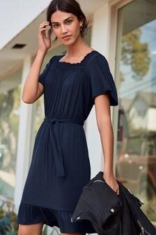 Lace Trim Square Neck Dress